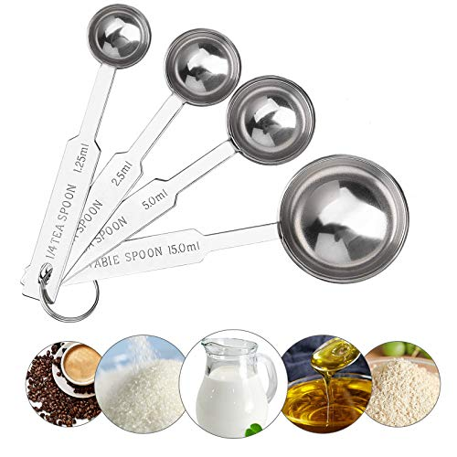 ITME Juego de 4 cucharas medidoras de acero inoxidable de grado alimenticio para medir ingredientes secos y líquidos, multiusos y diseño de unidad de escala dual, 1/4TSP, 1/2TSP, 1TSP y 1 cucharada