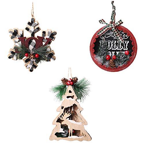 Christmas Ornaments Wood Tree Decorations,3Pcs Christmas Ornament Decorations Wooden Ornament Xmas Tree Hanging Tags Christmas Tree Ornaments for Christmas Wood Tree Ornaments Decorations