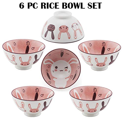 Hinomaru Collection Oriental Japanese style Set of 6 Ceramic Donburi Rice Bowl Tayo Multi Purpose 4.5' Dia x 2.25' H (Rabbit)