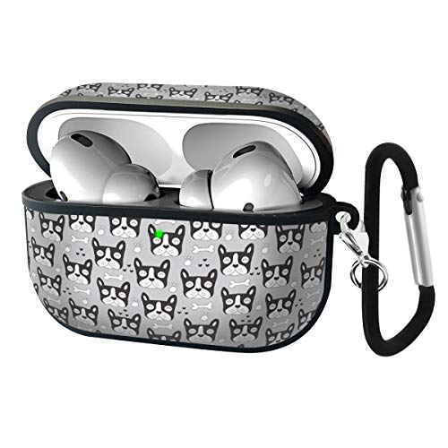 Slim Form Fitted Printing Pattern Cover Case with Carabiner Compatible with Airpods Pro 2019 / French Bulldog Paws and Bones Pattern