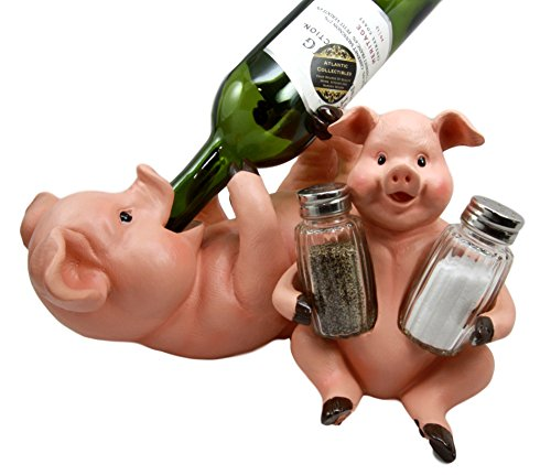 Countryside Farmland Bacon Porky Pig Swine Belly Hugging Wine Holder & Salt Pepper Shaker Holder Figurine Kitchen Hosting Decor Set