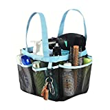 Haundry Mesh Shower Caddy Tote, Large College Dorm Bathroom Caddy Organizer with Key Hook and 2 Oxford Handles,8 Basket Pockets for Camp Gym