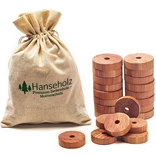 Hanseholz - Protezione antitarme Naturale in Legno di Cedro per Guardaroba, 40 Pezzi, con Sacchetto di Cotone/antitarme, 100% Naturale/Biologico
