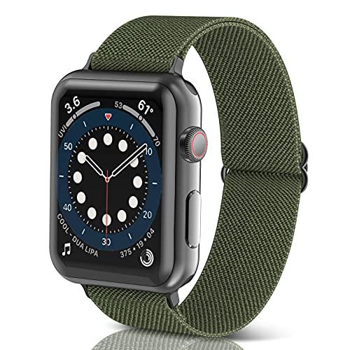 Correas Trenzada Elástica Ajustable para Apple Watch Serie 6/SE/5/4/3/2/1, Correas para Correa Apple Watch 38-44mm, Smartwatch Correa Reloj, Pulseras de Repuesto de Nylon, Mujer y Hombre