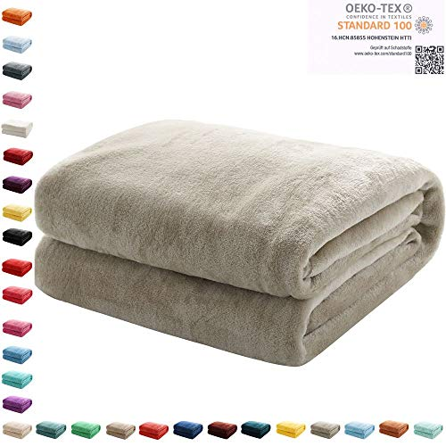 Mixibaby Kuscheldecke Flauschige extra weich & warm Wohndecke Flanell Fleecedecke, Falten beständig/Anti-verfärben als Sofadecke oder Bettüberwurf, Maße Decke Sarah:150 cm x 200 cm, Farbe:Grau
