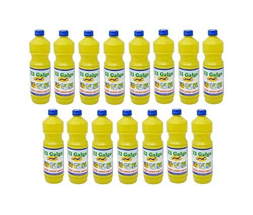 El Galgo Lejía Caja de 15 Botellas de 1 litro (15 litros). Hipoclorito de Sodio, con una solución de 40 gr. de Cloro Activo por litro.