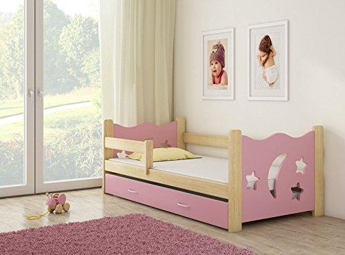 Infantasie \'Nachthimmel\' Kinderbett Komplett Set 160 x 80 cm inkl. Matratze, Lattenrost und Bettkasten Unterbett Schublade auf Rollen, extra Rausfallschutz Seitenteil (verstellbar), Design: Rosa/Holz