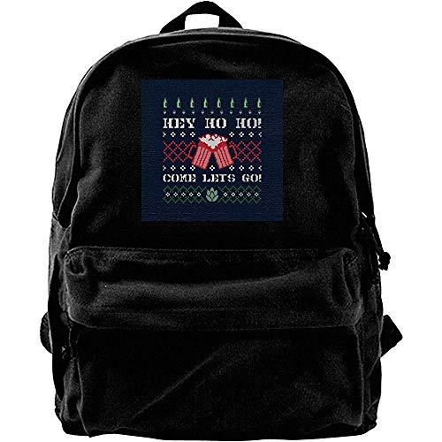 Canvas Shoulder Bag,Hey Come Lets Go Weihnachten Bier Strickmuster Drucken Erwachsene Rucksäcke Für Erwachsene Outdoor Gym 30cm(W) x40cm(H)