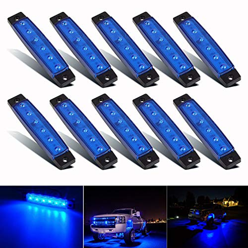 PSEQT 10 Pcs LED Rock Strip Lights Car Underglow Wheel Fender Well Lighting Kits Waterproof for Golf Cart Jeep Wangler Offroad Truck Ford RV UTV ATV Snowmobile (Blue)