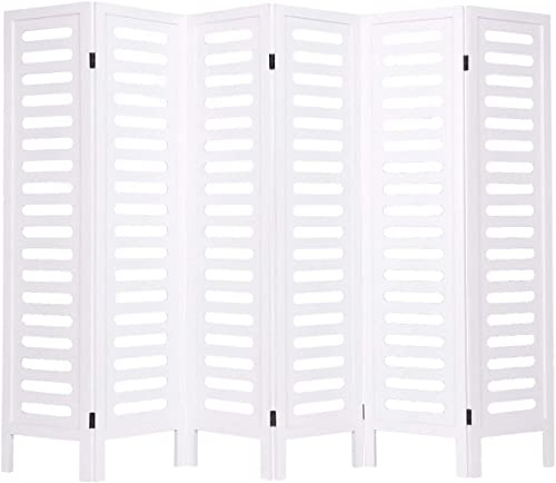 """Giantex 67"""" 6 Panel Folding Room Divider Wooden Privacy Screen Double Sided Freestanding White"""