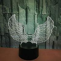 エンジェルウィングス3Dビジュアルライトカラフルタッチアクリル3DスモールテーブルランプLEDナイトライト