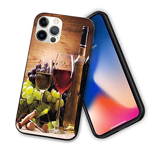 Copas de vino tinto y blanco servidas con uvas gourmet francesas degustación flexible de TPU para iPhone 12 Pro Max 6.7', color marrón rubí verde pálido