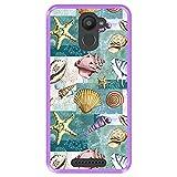 Hapdey Coque pour [ Bq Aquaris U Plus ] Dessin [ Modèle avec Coquillages, coraux et étoiles de mer...