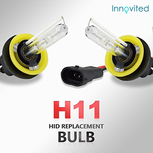 Innovited HID Xenon H11 H9 H8 6000K Replacement Bulbs (1 Pair Diamond White) - 2 Year Warranty