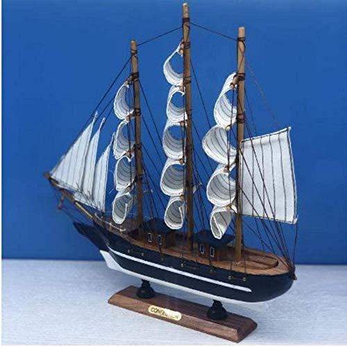 RUXMY Decoración Modelo de velero Barcos de Vela de Madera Blanca Modelo de Barco Juguetes para niños Regalo Barco en Miniatura Regalos Recuerdos 33Cm