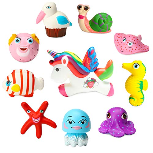 WATINC 10pcs Ocean Sea Animal Squishies Kawaii Slow Rising Sea Creatures Toys for Kids Under The Sea Birthday Party Favors Cream Scented Stress Relief Toys 1 Jumbo Unicorn Horse Squishies Include