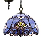 Tiffany Hanging Lamp 12 Inch Blue Purple Baroque Stained Glass Lampshade Anqitue Style Pendant Light Fixture for Dinner Room Living Room Bedroom S003C