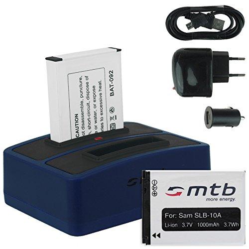 2X Akku + Dual-Ladegerät (Netz+Kfz+USB) für Samsung SLB-10A / Toshiba Camileo X-Sports/JVC Adixxion/Silvercrest/Medion Action Cam. s. Liste