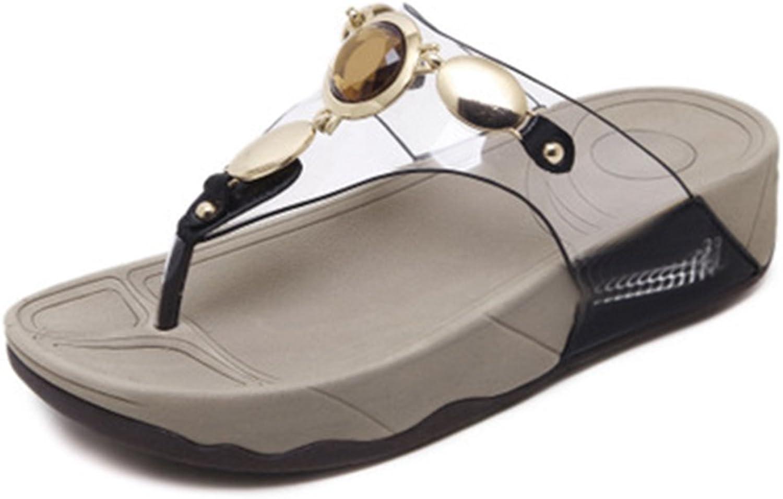 GIY Women's Summer Beach Flat Flip Flops Sandals Jeweled Clear Platform Comfort Low Heel Thong Sandals