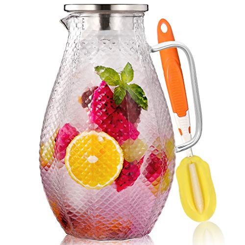 75 Ounces Glass Pitcher with Stainless Steel Lid