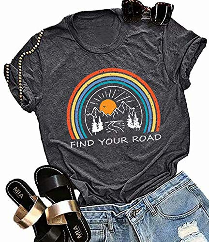 Find Your Road T Shirt Nature Graphic Tee T Shirt for Women Letter Print T Shirts with Saying Dark Gray