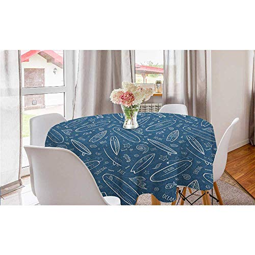 """Blue Waters Oceanic Elements Waves Swirls Doodle White Outlines Hobby Fun Times Wrinkle Free Tablecloths Surfboard kids picnic table patio Round tablecloth Blue White diameter 70"""" inch"""