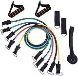 11 unids/set de bandas de látex de caucho natural, bandas de apoyo para ejercicio elástico Pul Nkle correas, bolsa de transporte, cuerda elástica de tirón de cuerda de fitness