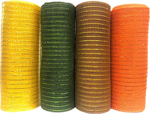 4 Rolls of 10 inches Decorative Harvest Mesh in Fall Colors, Orange, Yellow, Green and Brown,10 Yards Each