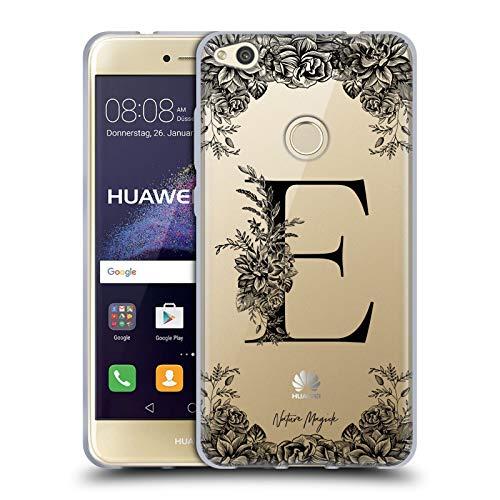 Head Case Designs Oficial Nature Magick Letra E Letra de Monograma Floral Negra 1 Carcasa de Gel de Silicona Compatible con Huawei P8 Lite (2017)