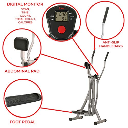 Sunny Health & Fitness SF-E902 Air Walk Trainer Elliptical Machine Glider w/ LCD Monitor, 220 LB Max Weight and 45 Inch Stride