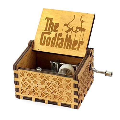 Y&S Star Wars Spieluhr, Holz, graviertes Geschenk, Spieluhr mit Handkurbel für Kinder, holz, Godfather