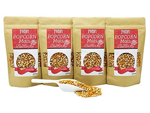 Popcorn Mais Butterfly 4 x 500g inkl. Dosierschaufel | Gourmet Qualität Kinopopcorn für Popcornmaschine | ohne Gentechnik und aus nachhaltiger Landwirtschaft | Vegan Glutenfrei (Butterfly 2 Kg)