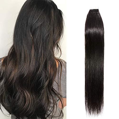 "20 Pcs Extension Adhesive Naturel Rajout Vrai Cheveux Humain Bande Adhesive Lisse (#1B Noir naturel, 12""(30cm))"