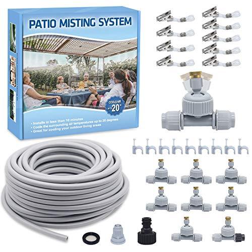 YuYo Kit Nebulizadores para Terrazas, Nebulizador Jardin 18M con Ajustable Boquillas, Sistema de Nebulizacion para Exterior, Césped, Pergola y Ventilador Enfriamiento
