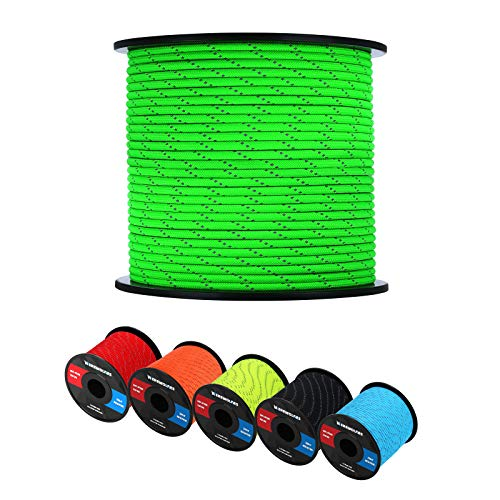 WEREWOLVES Reflective 550 Paracord  100% Nylon Rope Roller 7 Strand Utility Parachute Cord for Camping Tent Outdoor Packaging Reflective Neon Green 100Feet