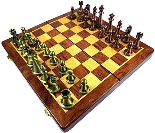 LINWEI Schach-Set-Brettspiel für Kinder Erwachsene Entwürfe Schach, faltende Holzreise Internationaler Schachbrett Spiel Set mit Metallteilen, Schach-Set mit Speicher-Slots A0-290B