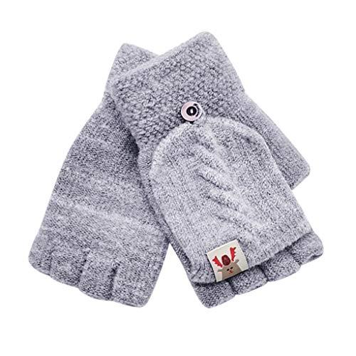 MOMBIY Baby Warme Handschuhe, Kinder Handschuhe Fingerlose Fäustling Winter für Jungen Mädchen Gestrickte Fäustlinge mit Flip Top Warme Handschuhe