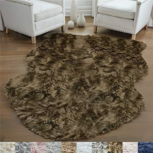 Gorilla Grip Original Premium Faux Sheepskin Fur Area Rug, 3x5, Softest, Luxurious Shag Carpet Rugs for Bedroom, Living Room, Luxury Bed Side Plush Carpets, Sheepskin, Brown
