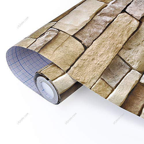 Yizunnu 3D Brick Pattern Wallpaper,Vinyl Self Adhesive Waterproof Wall Sticker, Bedroom Living Room Kitchen Home Decor 0.45x10m