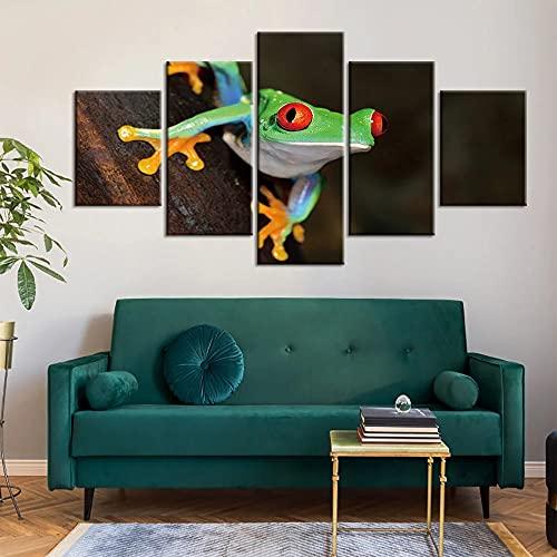 GUANGWEI Impresión En Lienzo Póster HD 5 Combinación De Pintura Colgante Rana Verde Marco De Dibujo Decorativo del Paisaje del Regalo del Arte De La Pared del Hogar