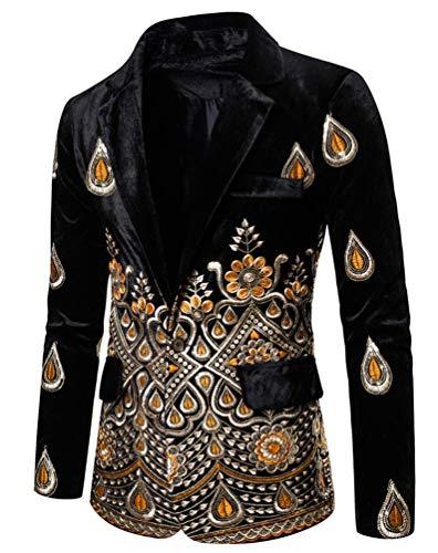 Slim Fit Hombre Terciopelo Camisa Blazer Elegante Moda Bordado Americana Chaquetas Un Botón Chaqueta De Traje Casual Fiesta Boda (Negro,XXL)