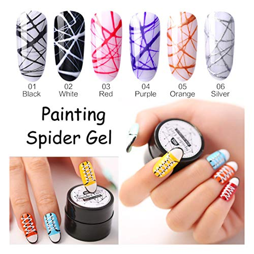 6 Colors/Set Painting Spider Gel Silk Line Web of Nails Art UV Gel Nail Polish Kit for Manicure...