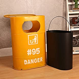 YM waste bins Creative industry oil barrel trash can home living room bar cafe restaurant large storage bucket outdoor/kitchen without cover large capacity creative garbage bin Sturdy and beautiful