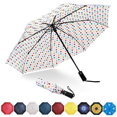 Eono by Amazon - Regenschirm Taschenschirm Kompakter Falt-Regenschirm, Winddichter, Auf-Zu-Automatik, Teflonbeschichtung, Verstärktes Dach, Ergonomischer Griff, Schirm-Tasche, Weißer/Farbiger Punkt