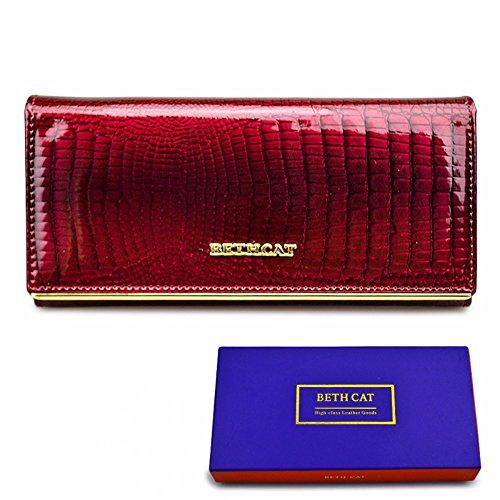 Brieftasche damen leder - Geldbörse Frau Leder Lang - Rindsleder echte lange und Design - Krokodilleder Muster Luxus hohe Qualität - Lederwaren mit Reißverschluss, viel Stauraum, 1 Tasche Handy