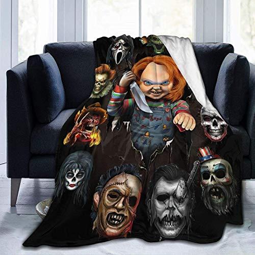 Manta de forro polar de franela de terror con diseño de personajes de película de terror ultra suave, manta de aire acondicionado, manta de microfibra para cama, sofá, silla, sala de estar, 150 x 100