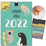 A4 Calendario per famiglie 2022   21x29,7cm   5 Colonne   230 adesivi   BAMBINI   Planner da parete, Planner da muro   Giorni festivi   Graziosi motivi animali,Decorazione, colori, Design, Kids