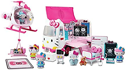 Jada Hello Kitty Rescue Set with Emergency Helicopter & Ambulance Playset, Figures & Accessories, Pink and White