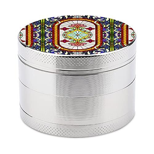 Abrader,Pimienta y sal Metal Abrader,Mini molinillo de especias manual multifuncional Cocina-Medio Oriente Art Nouveau vidrieras