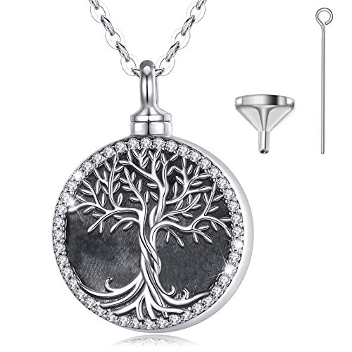 EUDORA Tree of Life Cremation Necklace for Ashes, Sterling Silver Celtic Urns Memorial Jewelry Personalized Keepsake for Women, Man, Pet, 20 inches Chain